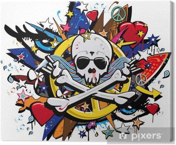 Graffiti Skull and Bones skeletonl pop art illustration Canvas Print - Wall decals