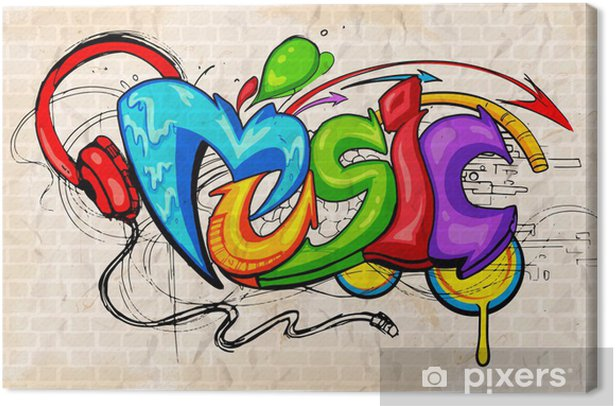 Graffiti style Music background Canvas Print - Themes