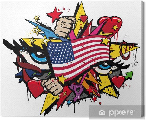 Graffiti USA flag pop art illustration Canvas Print - Wall decals