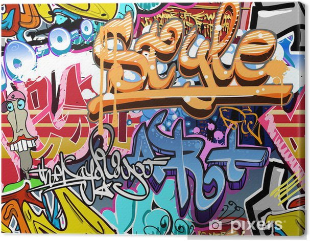 Graffiti wall. Urban art vector background. Seamless texture Canvas Print - Themes