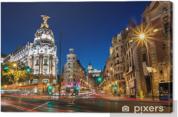 Gran Via in Madrid, Spain, Europe. Canvas Print - Themes