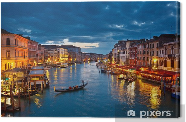 Grand Canal at night, Venice Canvas Print -