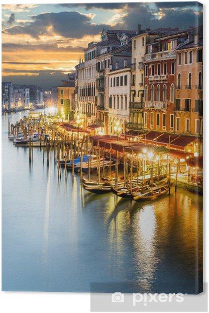 Grand Canal in Venice by night Canvas Print -