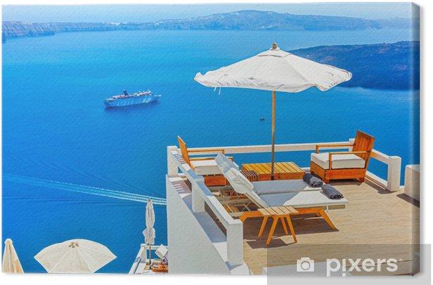 Greece Santorini island in Cyclades,Panoramic view of caldera se Canvas Print - Themes