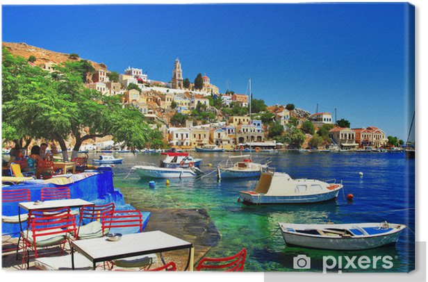 Greek holidays. Symi island Canvas Print - Themes
