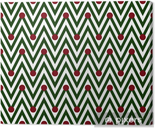 Green and White Horizontal Chevron Striped with Polka Dots Backg Canvas Print - Backgrounds