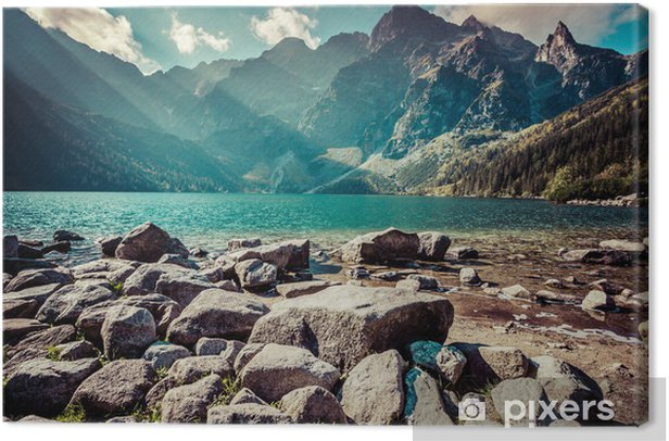 Green water mountain lake Morskie Oko, Tatra Mountains, Poland Canvas Print - Themes