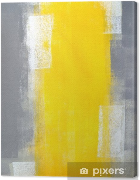 Grey And Yellow Abstract Art Painting Canvas Print
