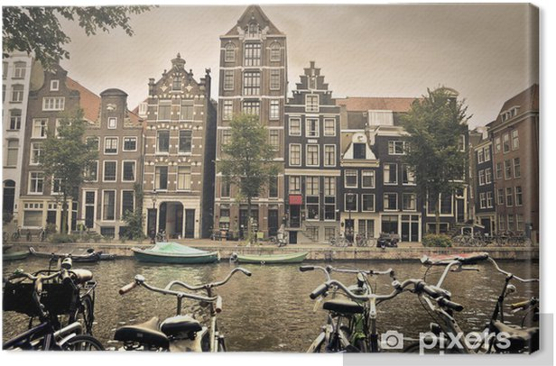 grey day in amsterdam city Canvas Print - Themes