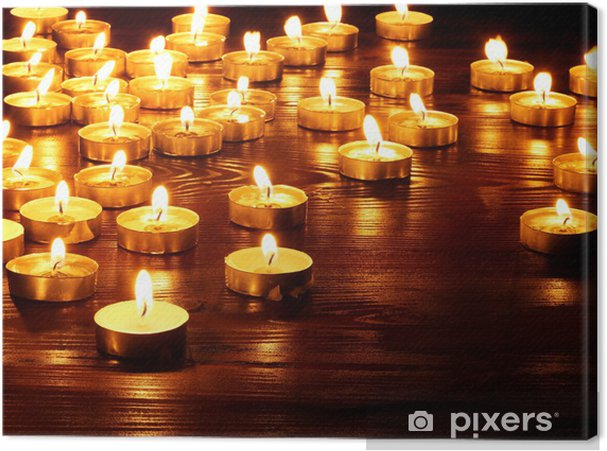 Group of candles on black background. Canvas Print - National Events