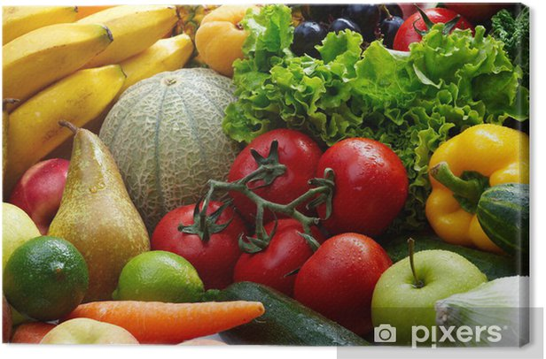 Group of different fruit and vegetables Canvas Print - Themes