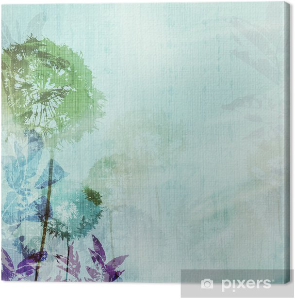 grunge background with dandelions Canvas Print - Styles