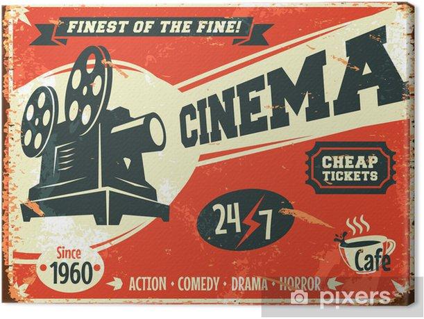 Grunge retro cinema poster. Vector illustration. Canvas Print - Themes