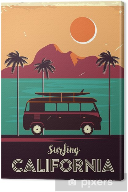 Grunge retro metal sign with palm trees and van. Surfing in California. Vintage advertising poster. Old fashioned design Canvas Print - Landscapes