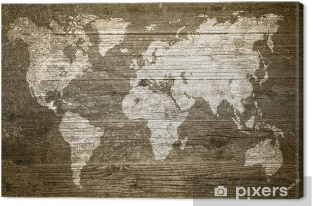 Grungewood - Weltkarte Canvas Print - Themes
