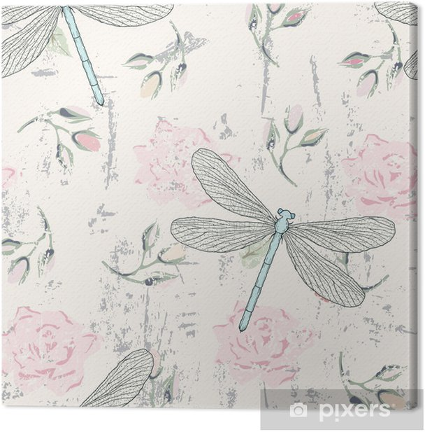 grungy floral seamless pattern with dragonflies Canvas Print - Styles