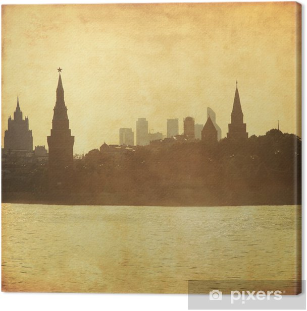 Grungy image of Moscow cityscape. Canvas Print - Asian Cities
