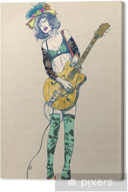 Guitar player - Exciting beauty. Canvas Print - Jazz
