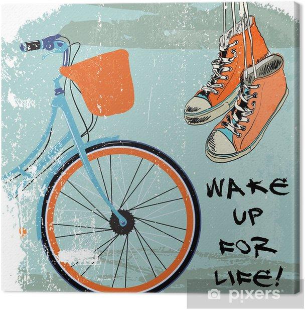 Gumshoes sketch bike hipster Canvas Print - Bikes