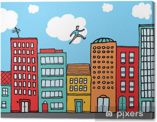 Guy practising parkour in the city Canvas Print - Individual Sports