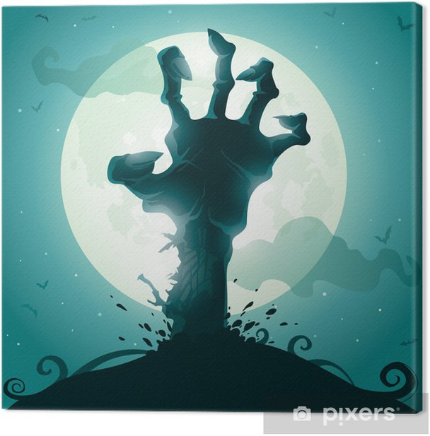 Halloween background with zombie hand on full moon Canvas Print - Themes