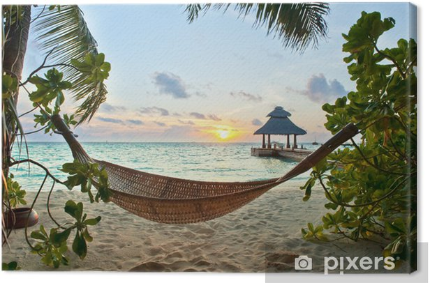 Hammock on the beach Canvas Print - iStaging