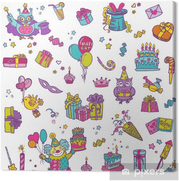 Hand drawn Birthday Celebration Design Elements Canvas Print - Celebrations