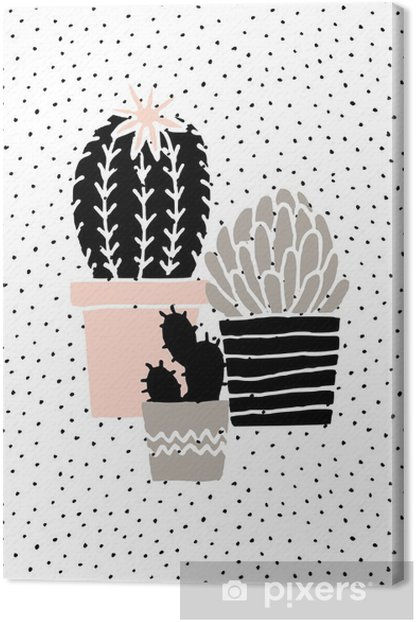 Hand Drawn Cactus Poster Canvas Print - Graphic Resources