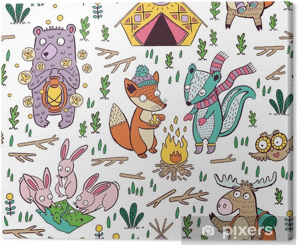 Hand drawn camping seamless pattern with cartoon characters Canvas Print - Graphic Resources