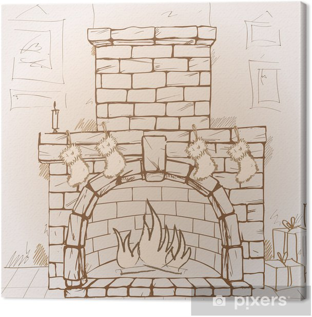 Hand drawn Christmas fireplace Canvas Print