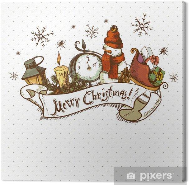 Hand Drawn Christmas Invitation Card Canvas Print
