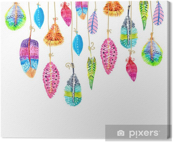 Hand drawn colorful watercolor feathers background Canvas Print - Plants