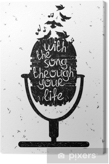 Hand drawn musical illustration with silhouette of microphone. Canvas Print - Hobbies and Leisure