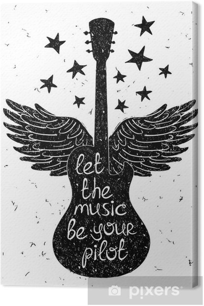 Hand drawn musical illustration with silhouettes of guitar. Canvas Print - Hobbies and Leisure