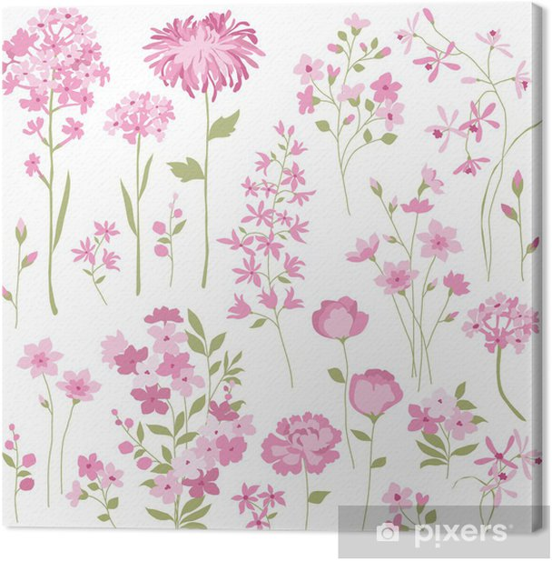 Hand Drawn Pink Flowers Canvas Print - Styles