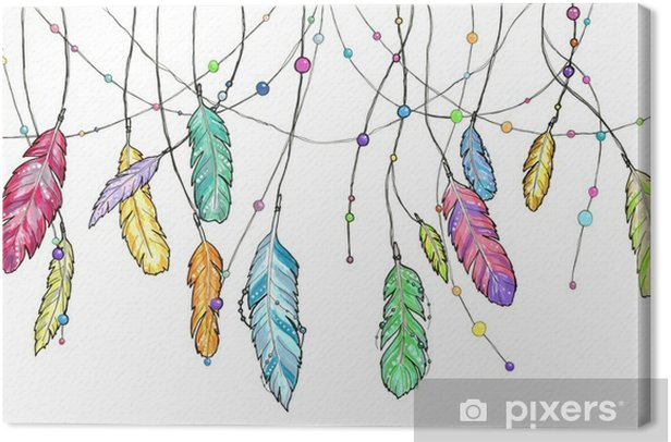 Hand drawn sketch feathers of dream catcher. Canvas Print - Graphic Resources
