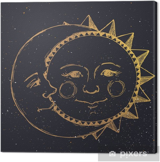 Hand drawn sun with moon Canvas Print - Graphic Resources