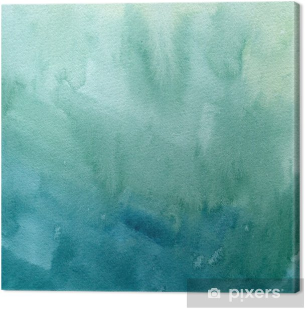 Hand Drawn Turquoise Blue Green Watercolor Abstract Paint