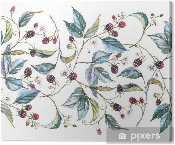 Hand-drawn watercolor seamless ornament with natural motives: blackberry branches, leaves and berries. Repeated decorative illustration, border with berries and leaves Canvas Print -