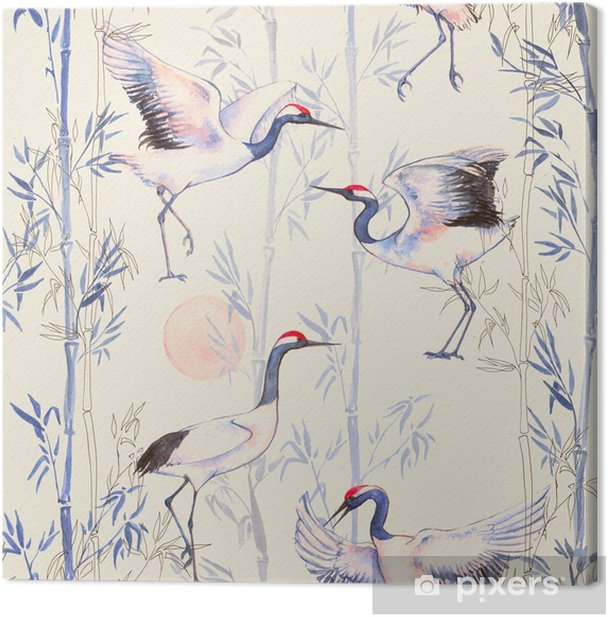 Hand-drawn watercolor seamless pattern with white Japanese dancing cranes. Repeated background with delicate birds and bamboo Canvas Print - Animals