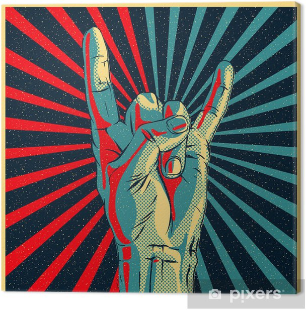 Hand in rock n roll sign, vector Eps10 illustration. Canvas Print - Rock