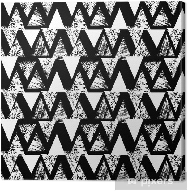Hand painted bold pattern with triangles Canvas Print - Graphic Resources