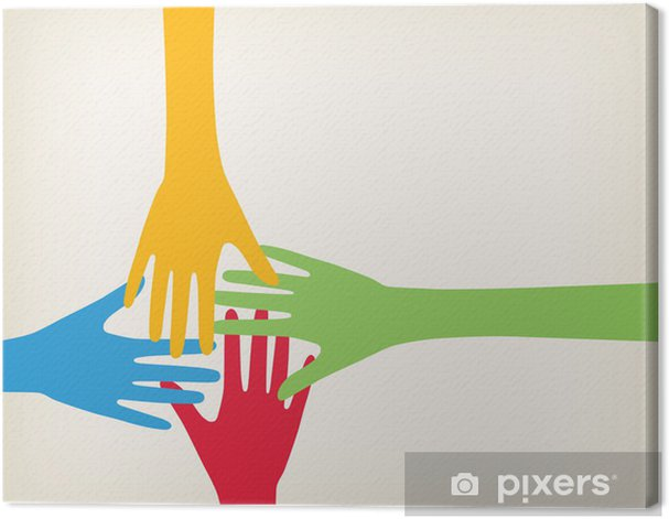 Hands connecting Canvas Print - Business Concepts