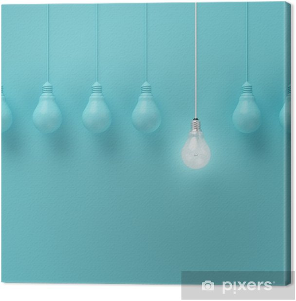 Hanging light bulbs with glowing one different idea on light blue background , Minimal concept idea , flat lay , top Canvas Print - Business