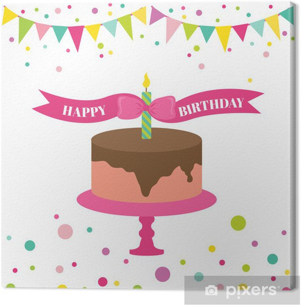 Happy Birthday and Party Card - with place for your text Canvas Print - Celebrations
