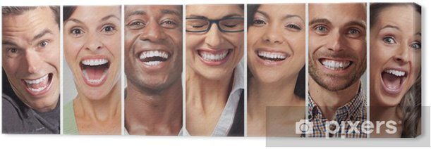 Happy people faces set Canvas Print - People