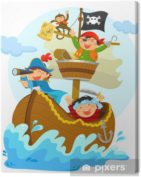 happy pirates sailing in their ship Canvas Print - Wall decals