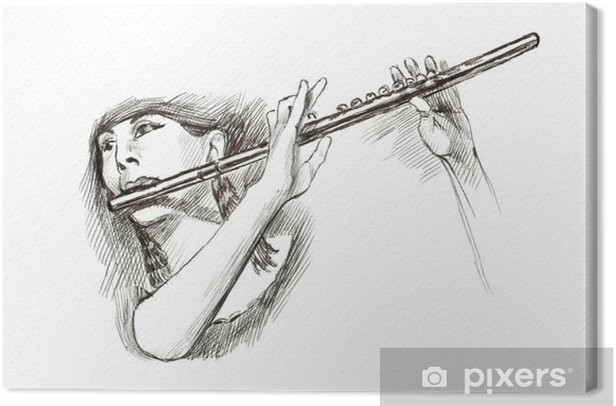hard tip marker, hand drawing - musician Canvas Print - Music