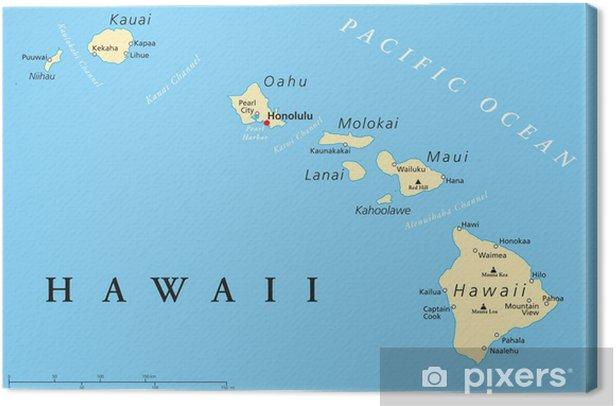 Hawaii Islands Political Map Canvas Print - Themes