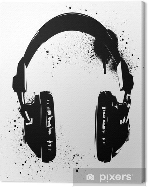 Headphones Graffiti Canvas Print - Hobbies and Leisure